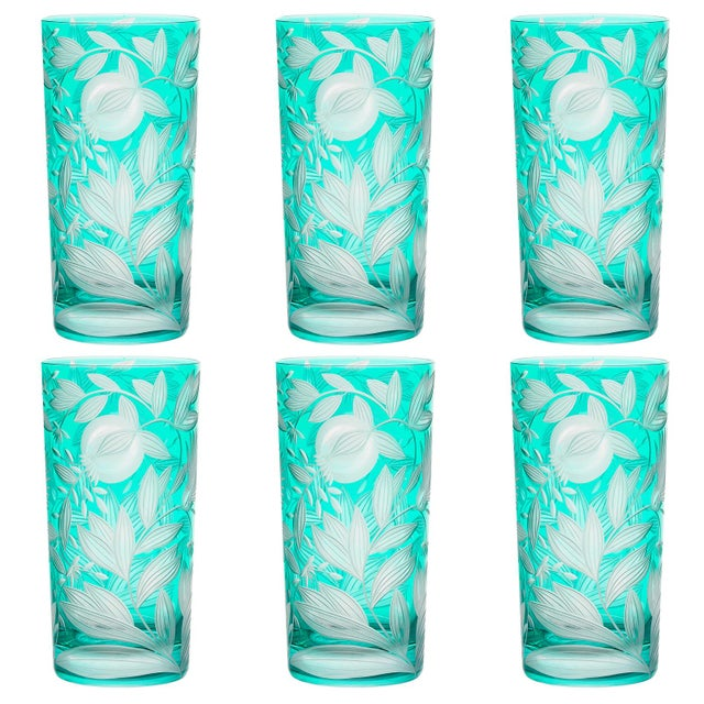 Artel Verdure Highball Glasses, Set of 6, Teal For Sale - Image 4 of 4