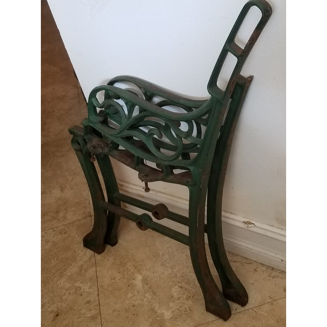 Metal Vintage Iron Park Bench For Sale - Image 7 of 9