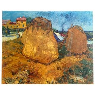 "Vincent Van Gogh Rare Vintage 1950's Large Fine Art Post Impressionist Dutch Lithograph Print "" Haystacks in Provence "" 1888 For Sale"