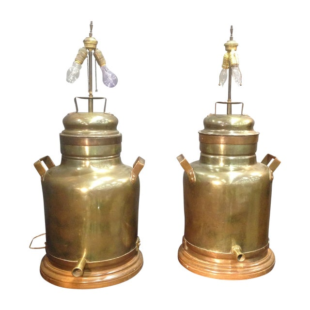 Monumental Brass Tea Canister Lamps- A Pair - Image 1 of 9