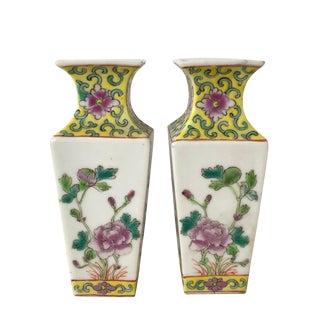 Vintage Chinese Porcelain Famille Jaune Miniature Vases a Pair For Sale