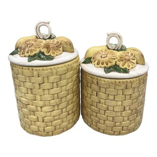 1960s French Country Lefton Pair of Basket Weave Kitchen Canisters - a Pair