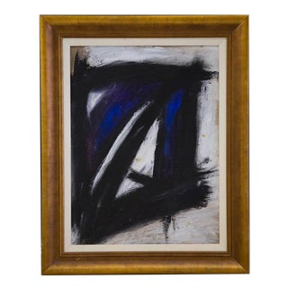 Large Scale Mid Century Black, White, and Klein Blue Abstract Painting For Sale