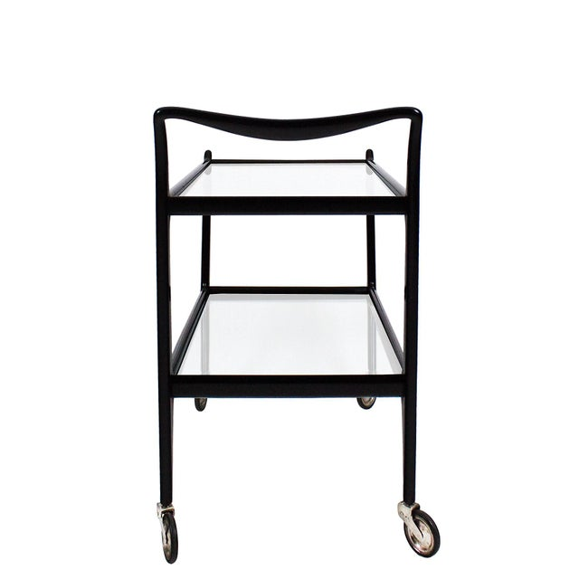 Metal 1950´s Two Levels Bar Cart by Ico Parisi, Stained Beech, Glass - Italy For Sale - Image 7 of 12