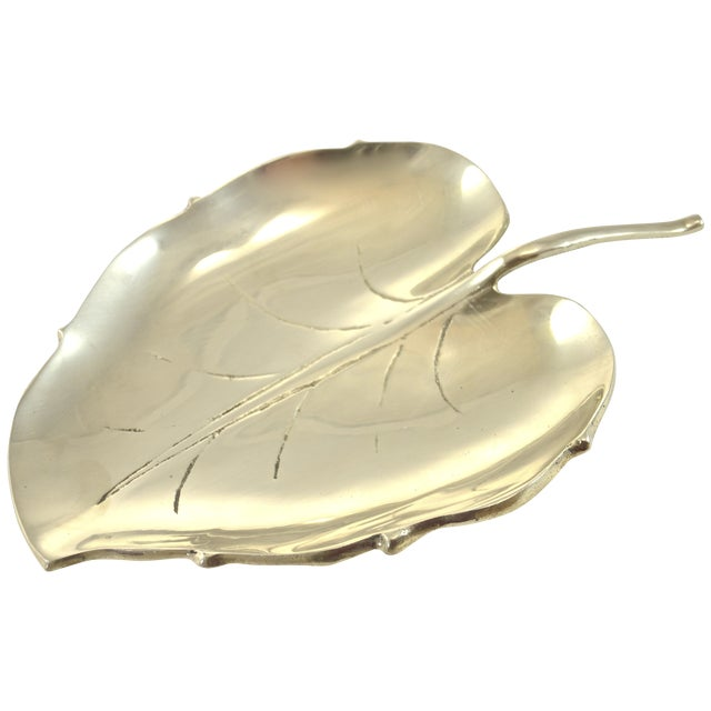 "Brass Leaf Tray, 10"" - Image 1 of 6"