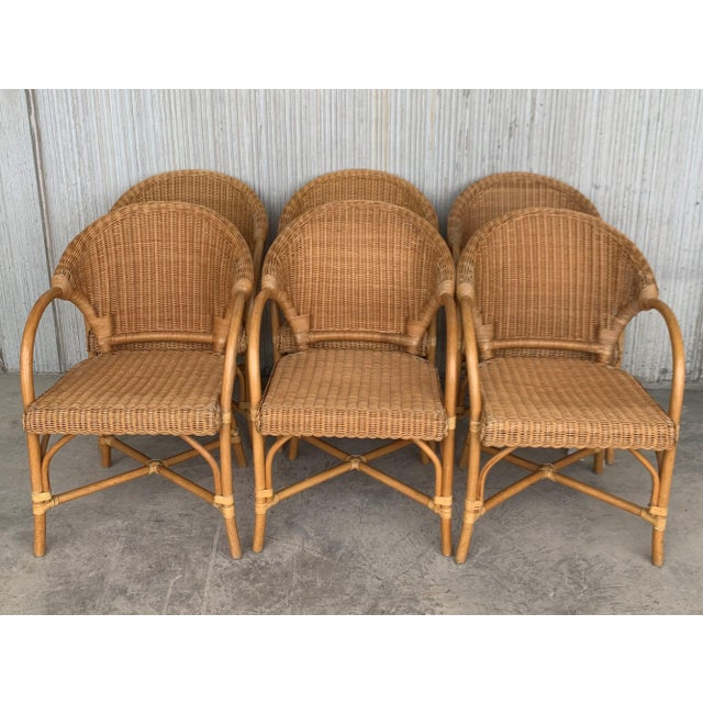 Midcentury Set of Six Bamboo and Rattan Dining Room Armchairs For Sale - Image 11 of 13