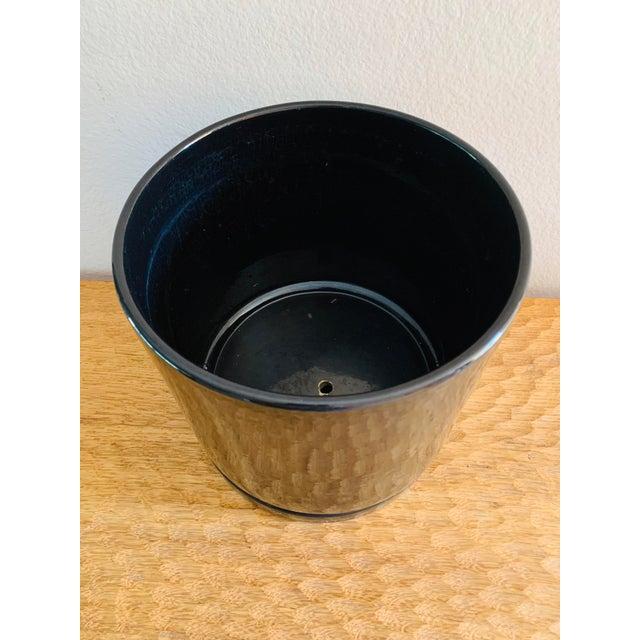 Black Mid-Century Modern Black Gainey Ceramics Planter Pot Plus Draining Platter Saucer For Sale - Image 8 of 10