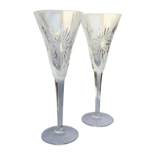 Waterford Crystal Champagne Flutes - A Pair For Sale