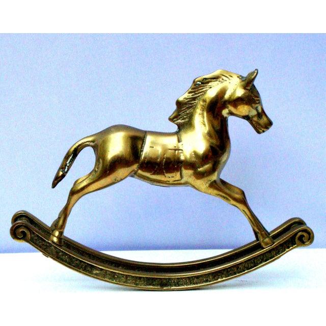 Hollywood Regency Mid-Century Brass Rocking Horse - Image 7 of 11