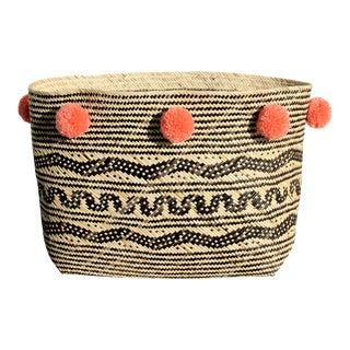 Borneo Tribal Straw Basket - with Salmon Pom-poms
