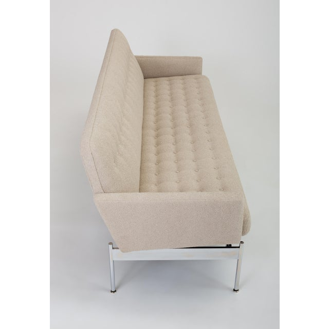 Metal Mid-Century Modern Tufted Bouclé Sofa With Chrome Base For Sale - Image 7 of 13