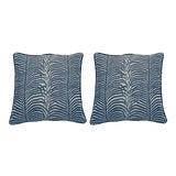 Image of Summer Classics Summer Sulu Indoor or Outdoor Pillow in Navy 24X24 - a Pair For Sale