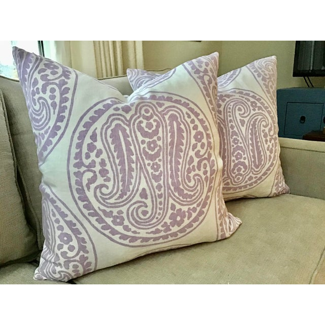 "Belgian Raoul ""Mira"" Paisley in Lilac Down Filled Pillows - a Pair, 21"" For Sale - Image 4 of 4"