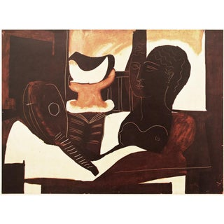 "1947 Picasso, Original Period Large ""Nature Morte à La Tête"" Lithograph For Sale"