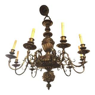 An Nine Arm Renaissance Style Cast Repousse Design Large Bronze Chandelier