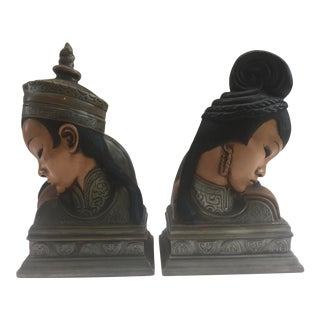 Asian Bust Ceramic Bookends - a Pair For Sale