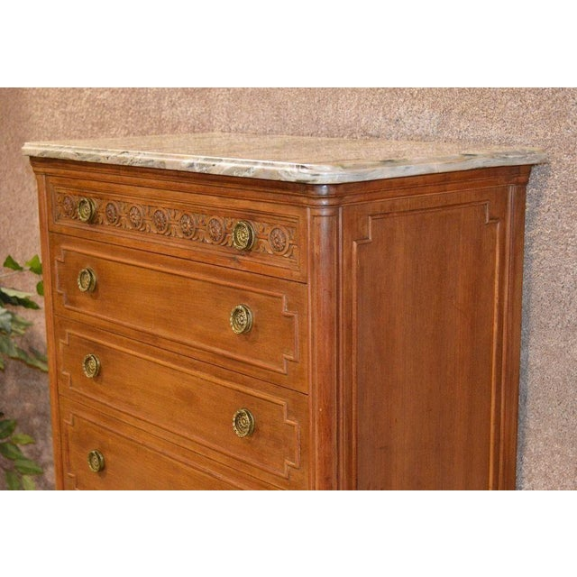 French French Style Seven Drawer Marble Top Lingerie Chest For Sale - Image 3 of 13