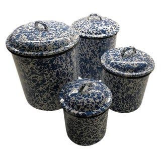 Blue & White Nesting Enamelware Canisters - Set of 4 For Sale