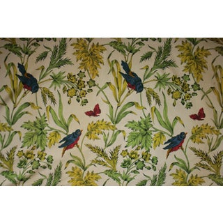 Vintage French Colorful Floral and Bird Pattern Left Panel Boussac Curtain Drape For Sale
