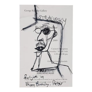 Rare Pen & Ink of Stravinsky by Lawrence Ferlinghetti (American, B.1919) C.2009 For Sale