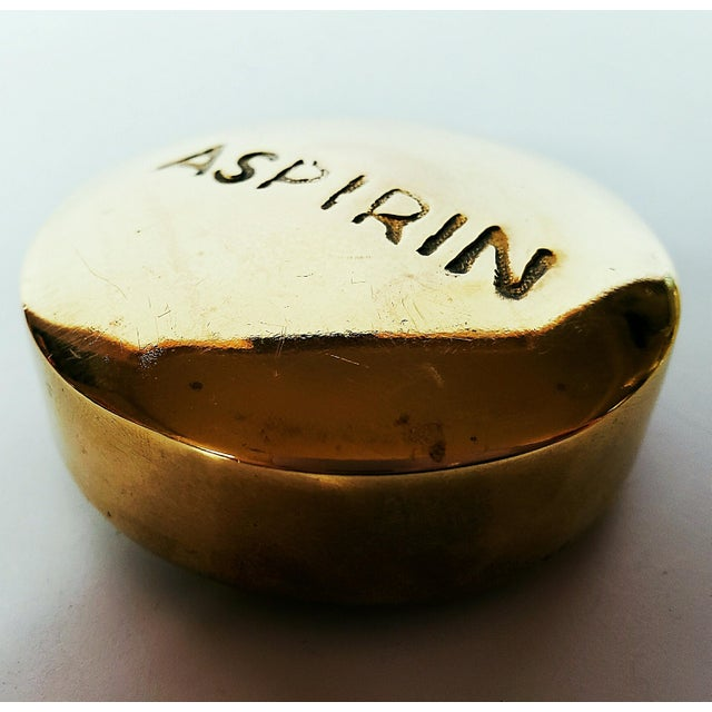 1970s 1970s Vintage Brass Aspirin Paperweight For Sale - Image 5 of 6