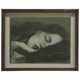 Sleeping Women Pastel Drawing Signed W. Gray For Sale