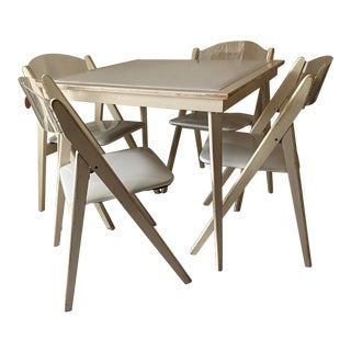 Mid-Century Modern Norwegian White Enamel and Lucite Game Table, 4 Chairs For Sale