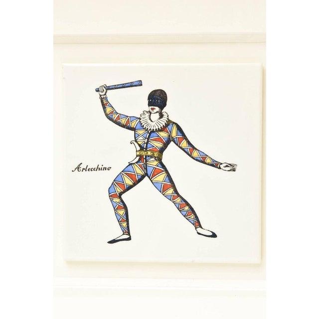 1950s Pair of Rare Vintage Fornasetti Ceramic Jester Ceramic Plaques Custom Framed For Sale - Image 5 of 13