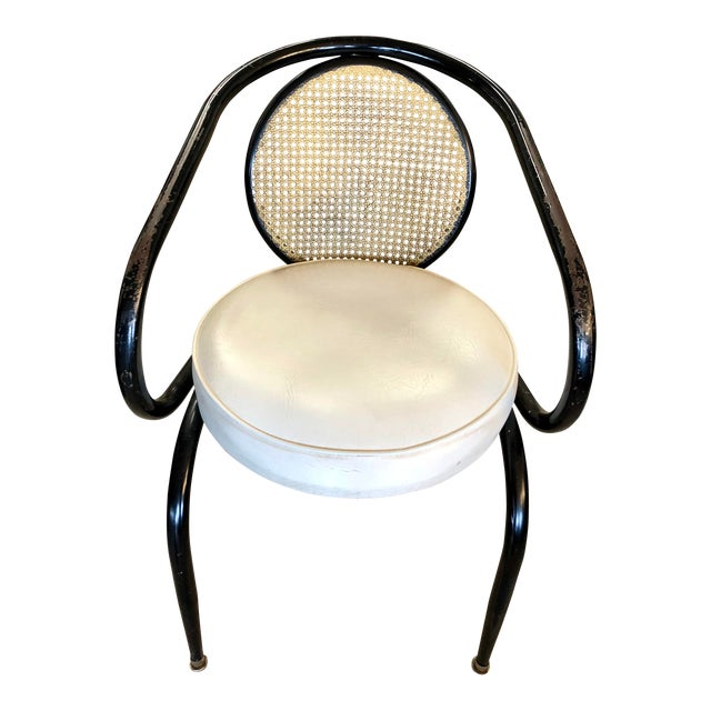 Vintage Mid-Century Howell Manufacturing Black Metal Cane Back Chair For Sale