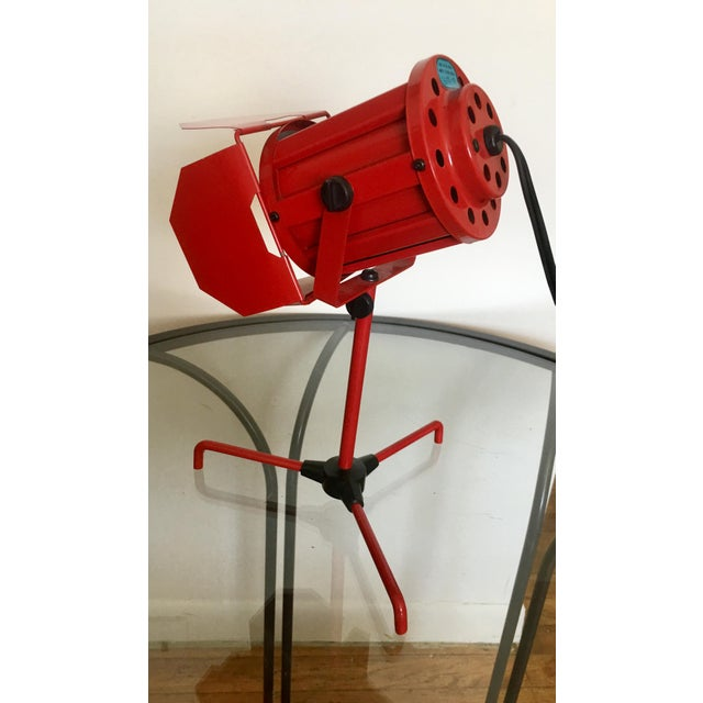 Industrial Mid Century Red Tripod Spotlight Lamp For Sale - Image 3 of 8