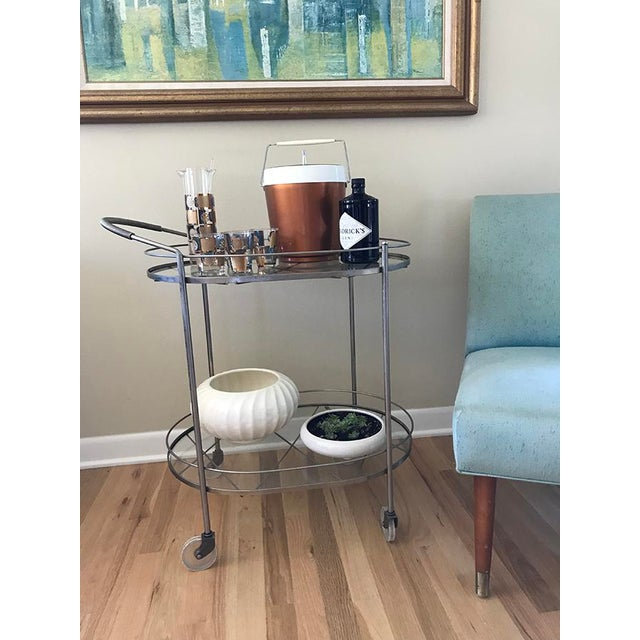 Mid 20th Century Mid Century Vintage Two-Tier Oval Rolling Bar Cart For Sale - Image 5 of 9