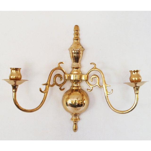Vintage Solid Brass Candle Wall Sconces - Pair - Image 4 of 5