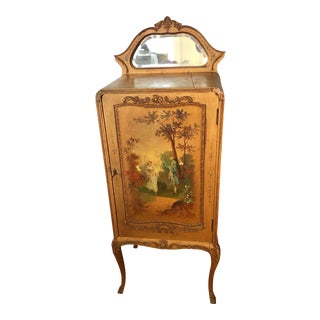 19th Century French Gilded Wood Music Cabinet Rare For Sale
