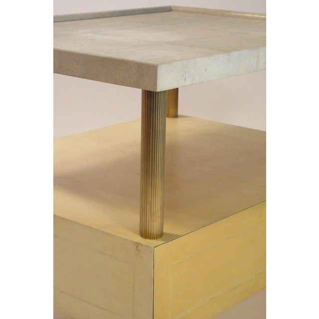1980s Contemporary Garrison Rousseau Custom Shagreen and Parchment Side Table For Sale - Image 4 of 13