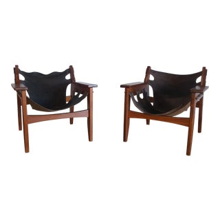 1970s Mid-Century Modern Sergio Rodrigues for Oca Industries Kilin Lounge Chairs - a Pair For Sale