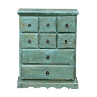 Aqua Painted Apothecary Dresser For Sale