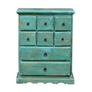 Aqua Painted Apothecary Dresser