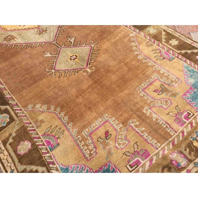 Mid-Century Modern Hand Knotted Brown Turkish Rug For Sale - Image 3 of 12
