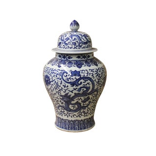 Chinese Blue & White Dragon Graphic Porcelain General Temple Jar For Sale