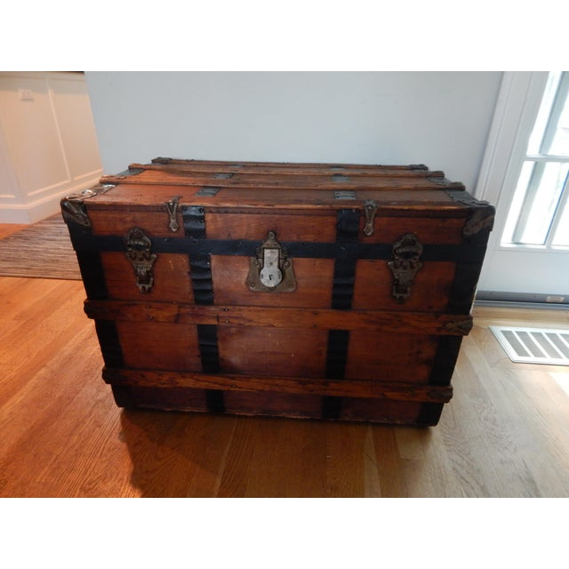 Early 20th Century Vintage Steamer Trunk For Sale - Image 4 of 4