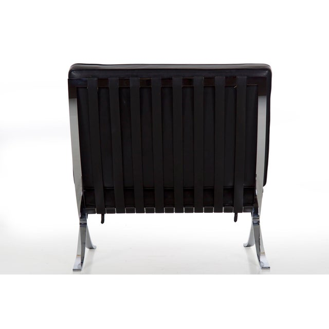 Mid Century Modern Black Leather and Chrome Steel Barcelona Chair, Circa 21st Century For Sale - Image 4 of 13