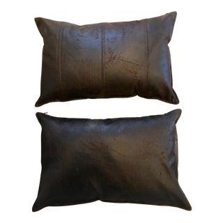 Faux Leather Lumbar Dark Brown Pillows - A Pair For Sale