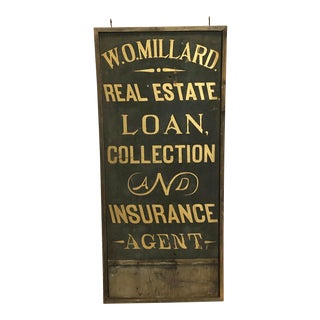 1900's Hand Painted Real Estate Sign For Sale