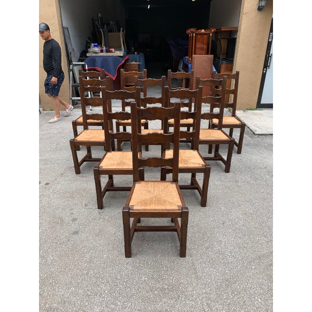 1910s French Louis Philippe Rush Seat Solid Walnut Dining Chairs - Set of 10 For Sale In Miami - Image 6 of 13
