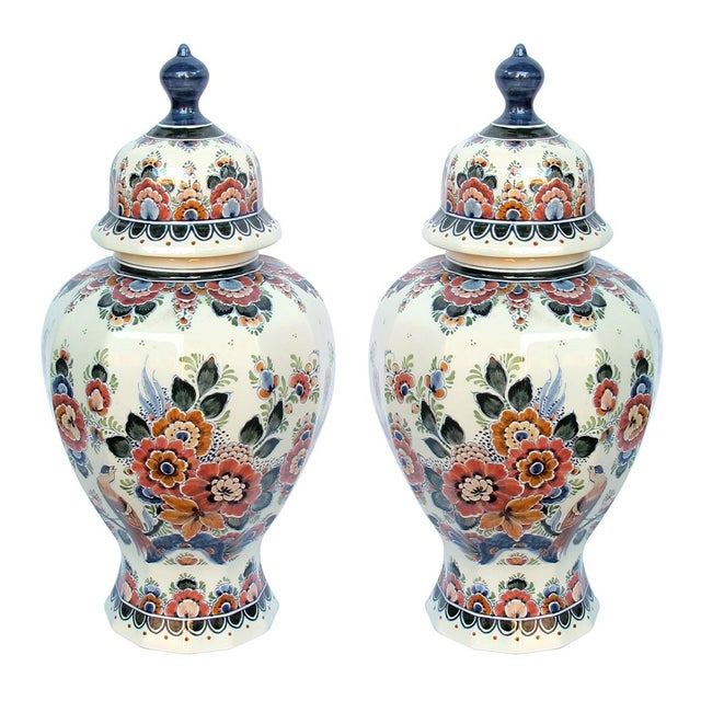 Pair of Delft Hand-Painted Covered Jars Signed by the Artist P. Verhoeve For Sale - Image 10 of 10