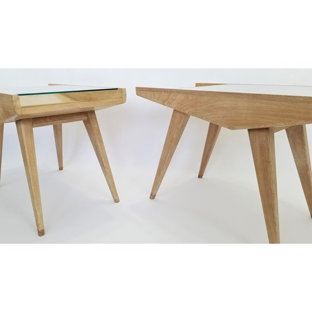 Pair End Tables or Nightstands Magazine Style -1950s Vintage Blond Wood and Glass - Mid Century Modern Minimalist Sleek For Sale - Image 10 of 13