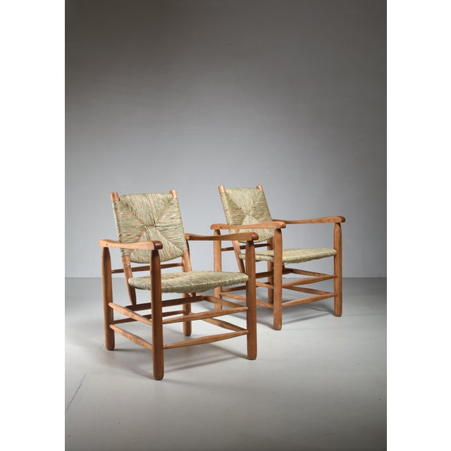 French Pair Charlotte Perriand 'model no. 21' lounge chairs France 1950s For Sale - Image 3 of 5