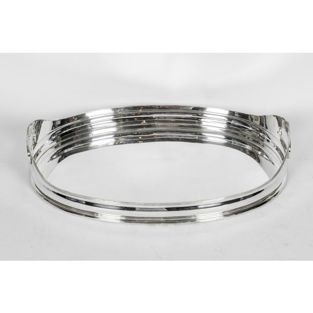 Silver Mid-Century Modern Silver Plate Barware Tray For Sale - Image 8 of 11