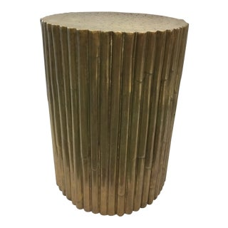 Asian Modern Faux Bamboo Pedestal For Sale