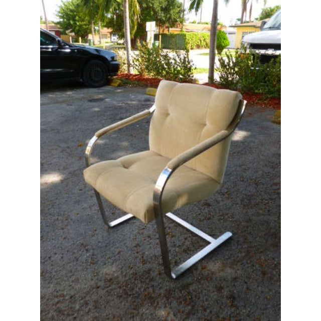 1970's Mid-Century Modern Brueton Heavy Thick Chromed Steel Arm Chairs - Set of 4 For Sale - Image 9 of 11
